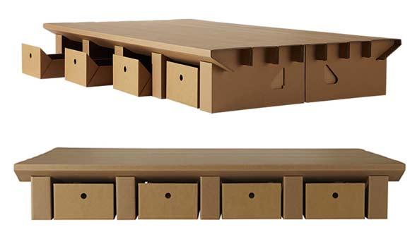 Il letto riciclabile in cartone ferretticasa - Cassetti sotto il letto ...